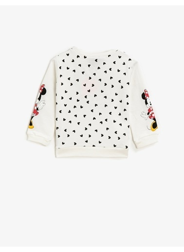 Koton Minnie Mouse Lisansli Simli Baskili Uzun Kollu Sweatshirt Gri